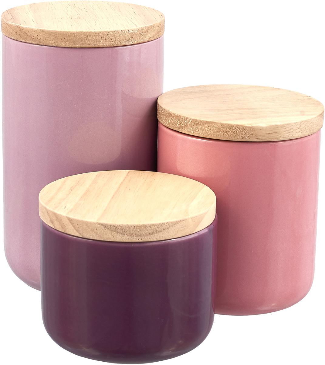 Керамический набор (3) банка 10х17,5см, дерев.крышки, упаковка - цвет.бокс