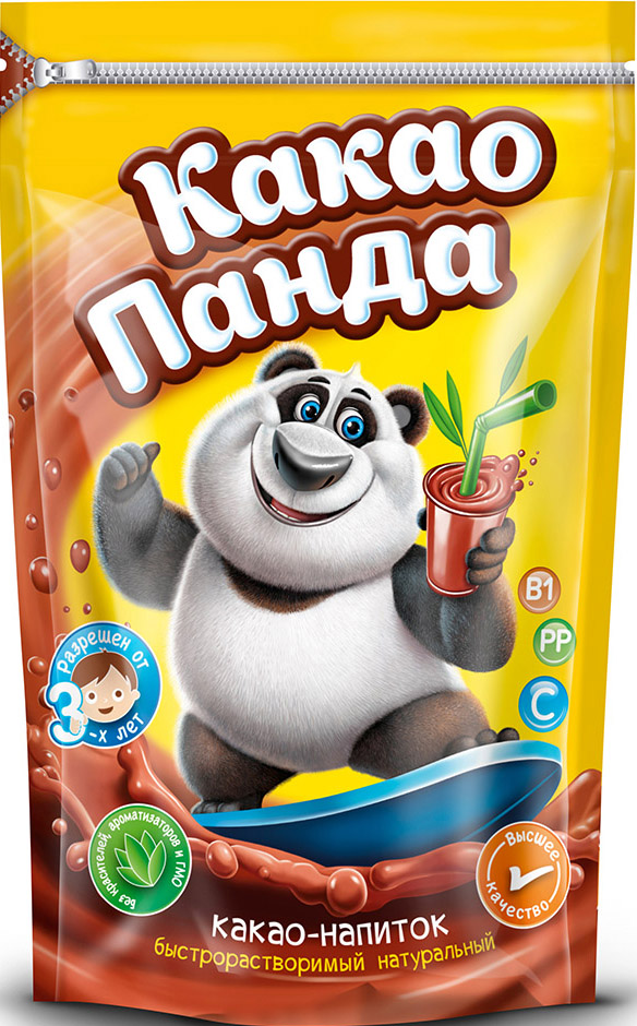 """Новинка на российском рынке - какао напиток """"КАКАО-ПАНДА"""", натуральный, высшего качества, витаминизированный, моментального приготовления. Вкусный напиток для взрослых и детей. Натуральный! Витаминизированный! Без красителей! Без ароматизаторов! Не содержит ГМО! Разрешен детям от 3-х лет!"""
