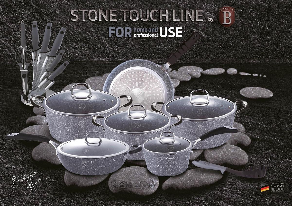 """Сковорода-гриль Berlinger Haus """"Stone Touch Line"""" выполнена из высококачественного кованого алюминия с трехслойным мраморным покрытием. Такое покрытие предотвращает пригорание пищи и ее прилипание к стенкам. Оно абсолютно безопасно для здоровья и не выделяет вредных веществ во время готовки. Специальное индукционное дно экономит 35% энергии. Тепло распределяется равномерно по всей поверхности посуды, что позволяет пище готовиться быстрее. Изделие снабжено удобной эргономичной ручкой, выполненной из нержавеющей стали с термостойким силиконовым покрытием """"soft touch"""". Ручка не нагревается в процессе приготовления пищи и не дает вашим рукам обжечься. Рифленая поверхность сковороды имитирует решетку гриля и образует аппетитную корочку, при этом жир стекает в желобки, не давая продуктам контактировать с ним, что обеспечивает приготовление здоровой пищи. Носики по бокам сковороды позволяют удобно выливать остатки жидкости после приготовления. В комплекте поставляется подставка под горячее, которая сбережет поверхность вашего стола от воздействия высоких температур. Посуда подходит для газовых, электрических, стеклокерамических, галогенных, индукционных плит. Можно мыть в посудомоечной машине. Размер (по верхнему краю): 28 х 28 см. Высота стенки: 4,5 см."""