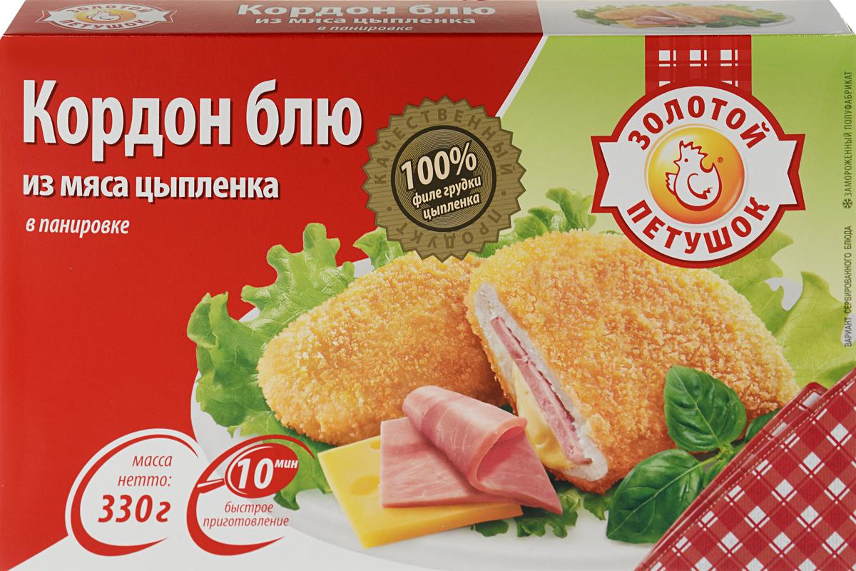 Золотой Петушок Кордон-блю с сыром и ветчиной, в панировке, 330 г