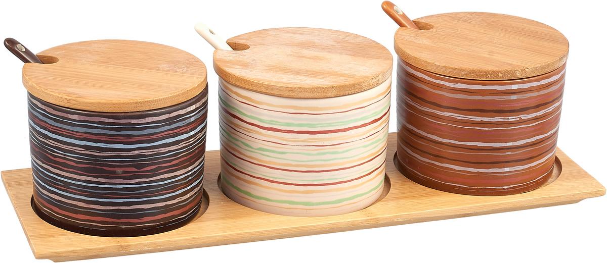 Набор банок для сыпучих продуктов Elrington Кетцаль, с ложками и подставкой, 7 предметов. KR-SCB077-1128KR-SCB077-1128Керамический набор 3 банки 280мл с ложками на дерев.подставке, декор - 6 микс, упаковка - колор.бокс