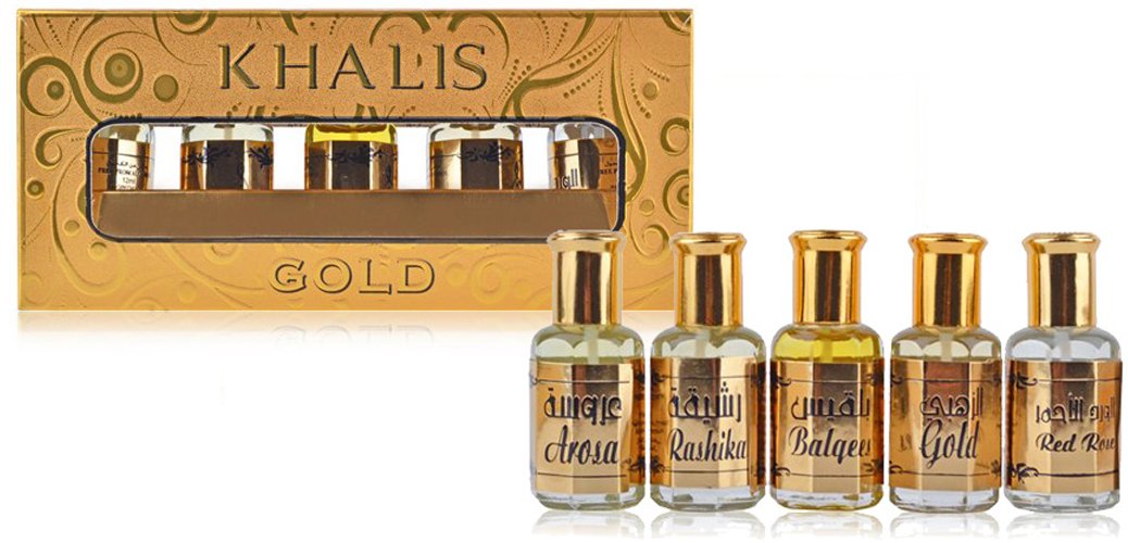 Khalis Oiline Gold Set Парфюмерный набор, 5 х 12 мл oiline alf lela wallela 12 мл khalis perfumes oiline alf lela wallela 12 мл