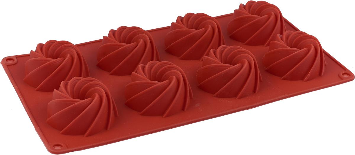 Форма для выпечки Доляна Загадка, цвет: терракотовый, 29 х 16 х 3 см, 8 ячеек форма для выпечки nadoba mila силиконовая 6 ячеек 29 х 17 х 3 7 см 762017