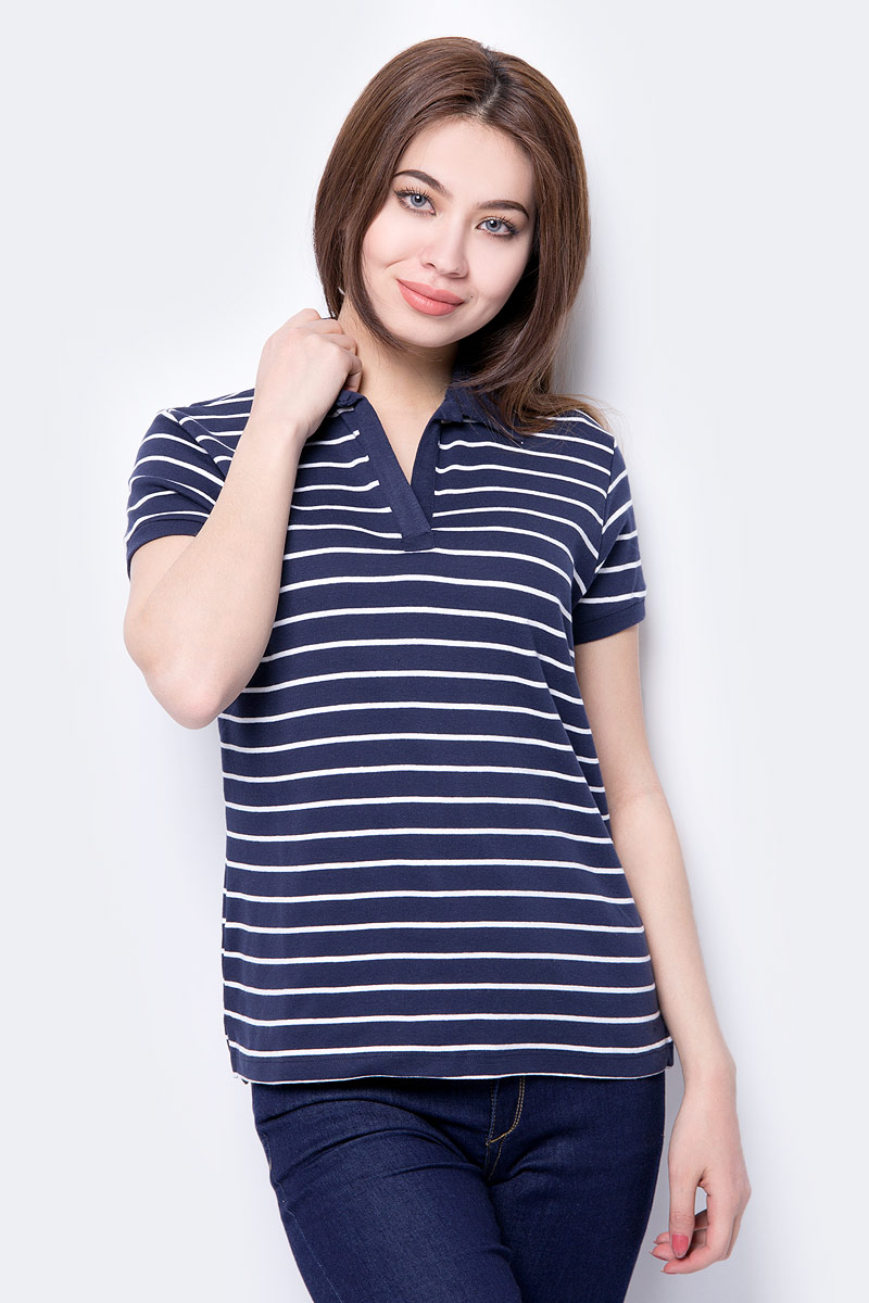 Поло женское Baon, цвет: синий. B208001_Dark Navy Striped. Размер M (46)
