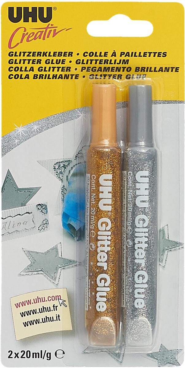 UHU Клеящие блестки Glitter Glue 2 х 20 мл