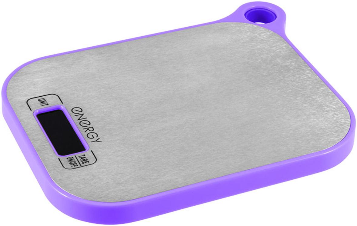 Energy EN-411 кухонные весы159669LCD дисплей Максимальная нагрузка – 5 кг Цена деления – 1 г Выбор единицы измерения: грамм, килограмм, унция, фунт Измерение воды, молока в мл Функция тары Автоматическое отключение Индикатор низкого заряда батарейки Индикатор перегрузки Питание от 2х батареек типа ААА(входят в комплект) Cостав: металл, пластик