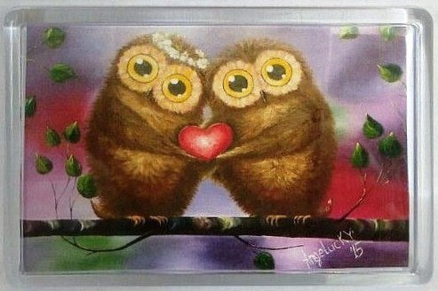 Магнит AngelucKY Влюблённая парочка (пластик). Авторская работа, 7,5 х 5 см магнит angelucky с любовью пластик авторская работа 5 х 7 5 см