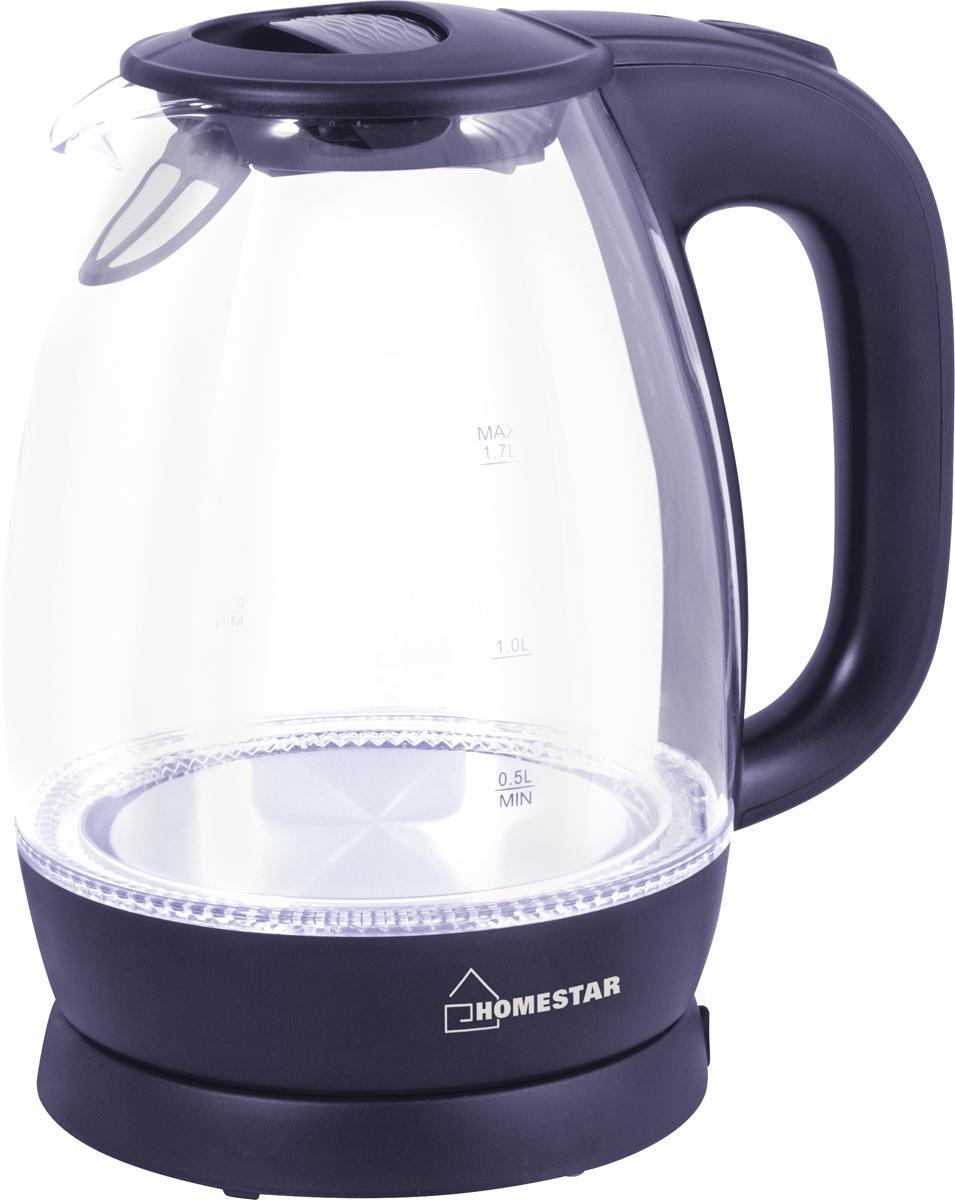 HomeStar HS-1012, Dark Blue электрический чайник3847Электрический чайник HomeStar HS-1012 прост в управлении и долговечен в использовании. Изготовлен извысококачественных материалов. Мощность 2200 Вт вскипятит 1,7 литра воды в считанные минуты. Беспроводноесоединение дает возможность вращать чайник на подставке на 360°. Для обеспечения безопасности приповседневном использовании предусмотрены функция автовыключения, а также защита от включения приотсутствии воды.
