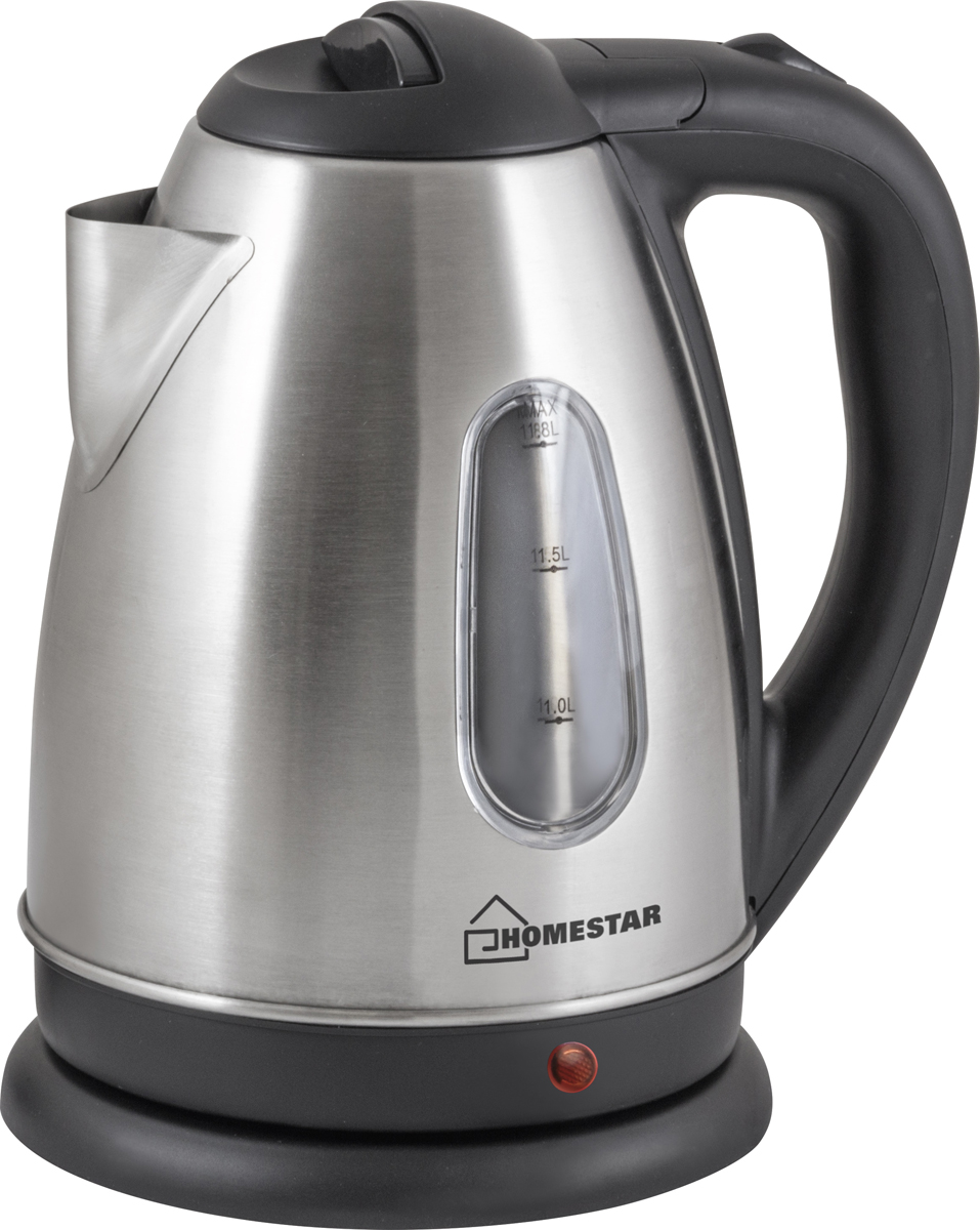 Homestar HS-1002 электрический чайник600Электрический чайник Homestar HS-1002 прост в управлении и долговечен в использовании. Изготовлен из высококачественных материалов. Прозрачное окошко позволяет определить уровень воды. Мощность 1500 Вт вскипятит 1,8 литра воды в считанные минуты. Беспроводное соединение дает возможность вращать чайник на подставке на 360°. Для обеспечения безопасности при повседневном использовании предусмотрены функция автовыключения, а также защита от включения при отсутствии воды.