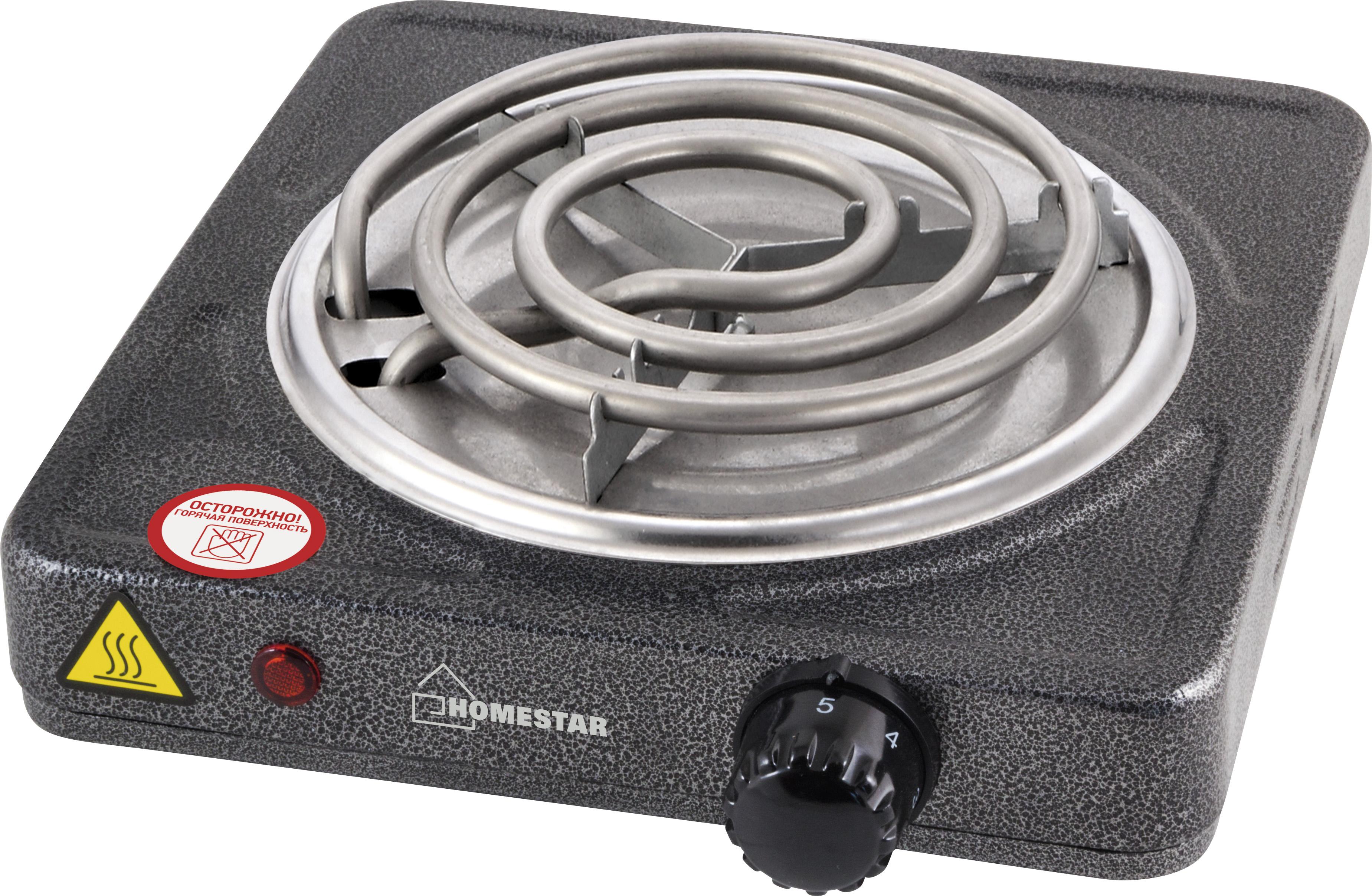 HomeStar HS-1103 настольная плита3046Мощность: 1000 Вт Размер конфорки: 140 мм Материал конфорки: ТЭН Световой индикатор работы Защита от перегрева Состав: металл, пластик, кабель