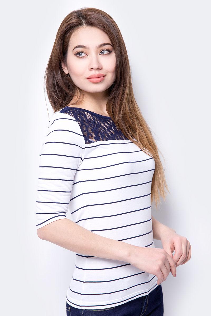 Лонгслив женский Sela, цвет: белый. T-111/631-8233. Размер XL (50) женский гардероб