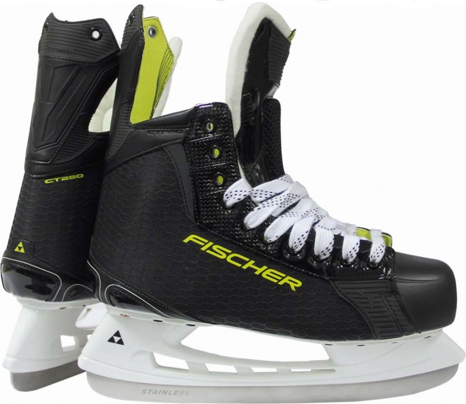 """Коньки хоккейные для мальчика Fischer """"CT250 JR"""", цвет: черный. Размер 38"""