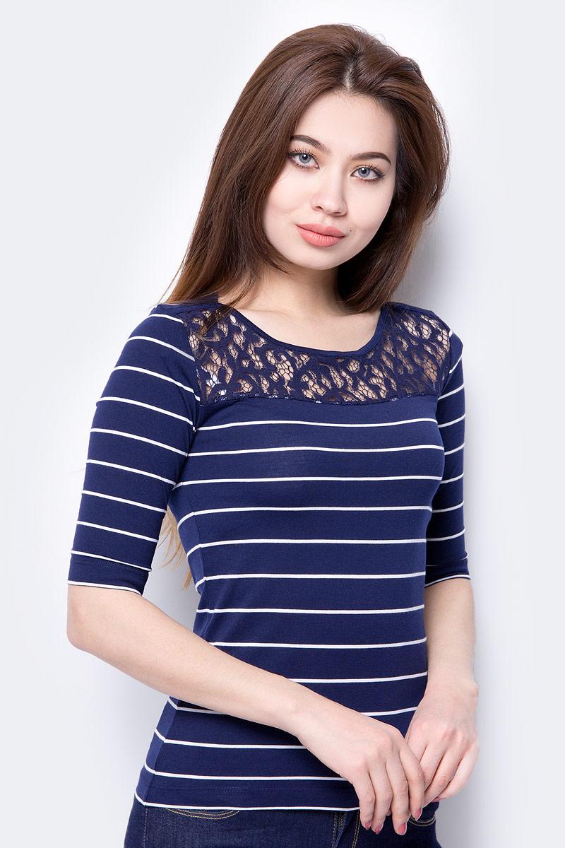 Лонгслив женский Sela, цвет: темно-синий. T-111/631-8233. Размер XL (50) женский гардероб