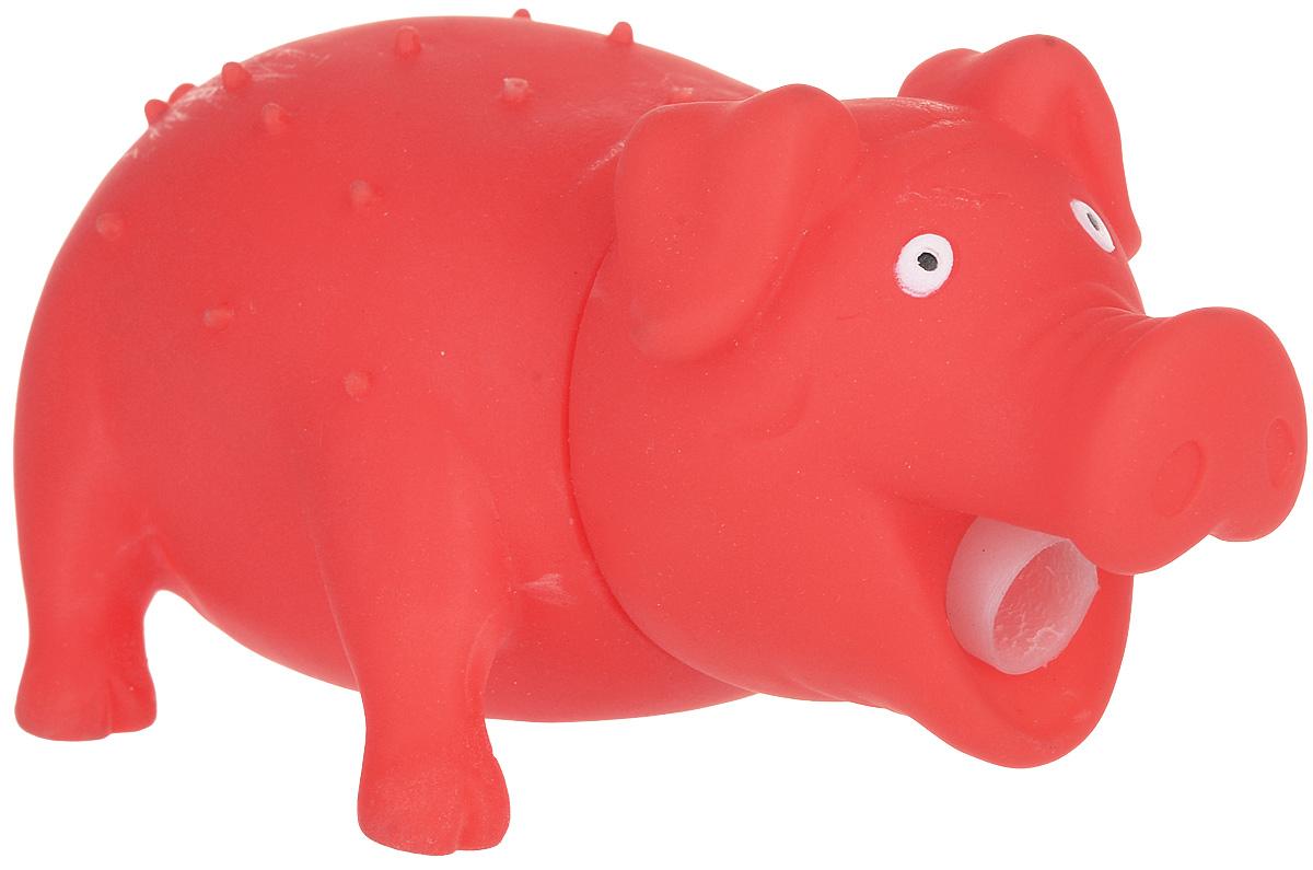 Игрушка для собак Уют Свинья, цвет: оранжевый, 16 x 7 см игрушка для собак уют кеды цвет зеленый 10 x 5 x 4 см