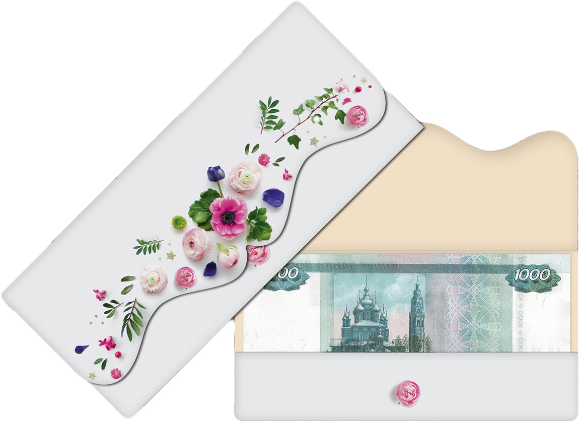 Конверт для денег Дарите Счастье Настоящие цветы, формовой, 17,5 х 8 см