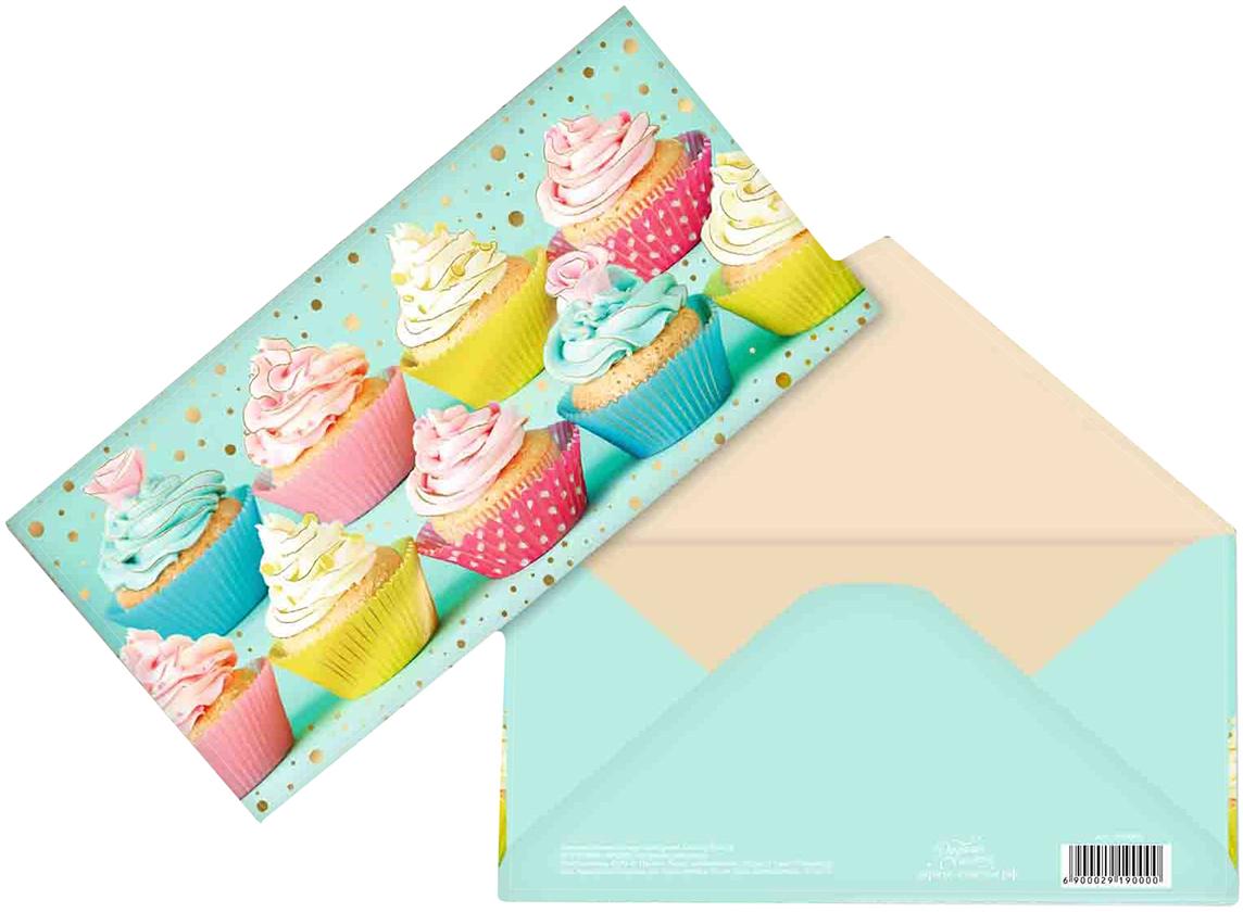 Конверт для денег Дарите Счастье Капкейки, с тиснением, 16,5 х 8 см подарочная коробочка для денег конверт для денег сердечки 43685