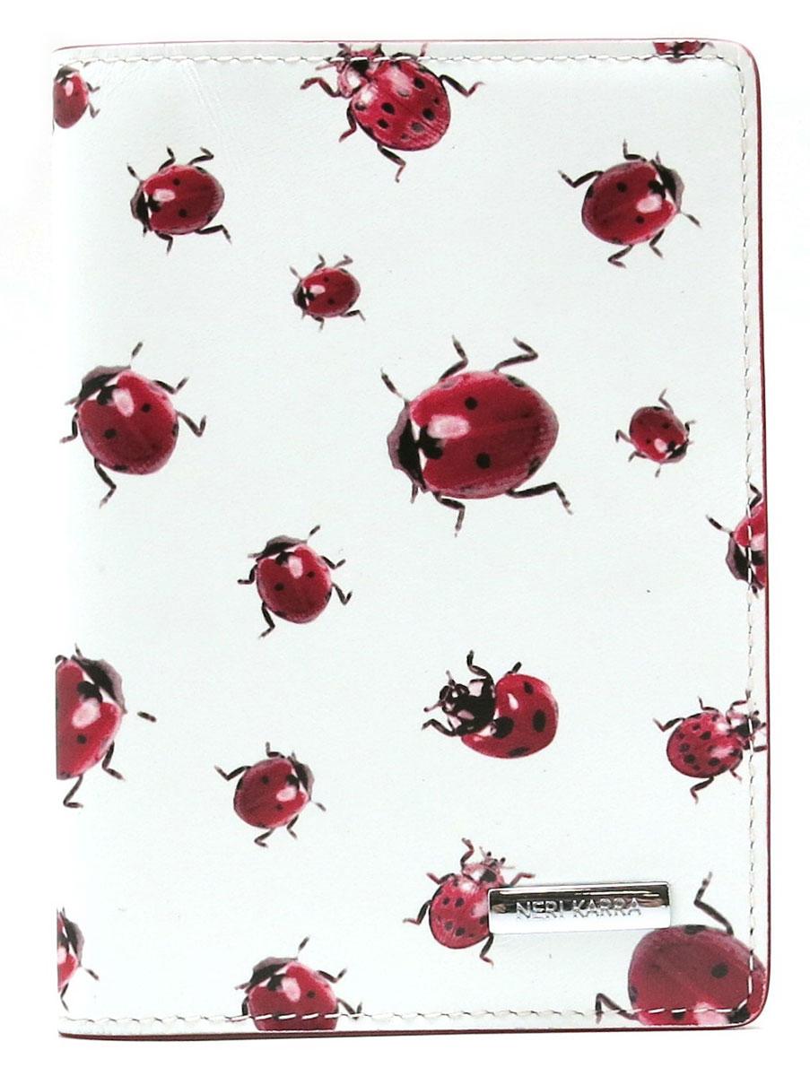 Обложка для паспорта женская Neri Karra, цвет: белый, красный. 01402-02.12/05 neri karra 0589 1 20 07