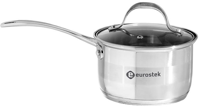 """Ковш кухонный """"Eurostek"""", с крышкой имеет объем 1л, изготовлен из нержавеющей стали 18/10, крышка из жаропрочного стекла с отверстием для выхода пара, 5-ти слойное капсулированное теплоаккумулирующее индукционное дно, Размер 14 х 6,5 см, толщина стенок 0,5 мм, зеркальная полировка внутри, комбинированная снаружи, литые цинкованные ручки, шкала уровня воды.  Диаметр крышки – 14 см"""