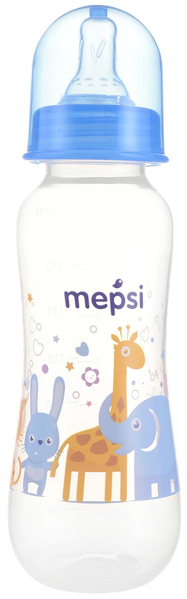 Mepsi Бутылочка для кормления с силиконовой соской от 0 месяцев цвет синий 250 мл ночная сорочка 2 штуки quelle arizona 464118