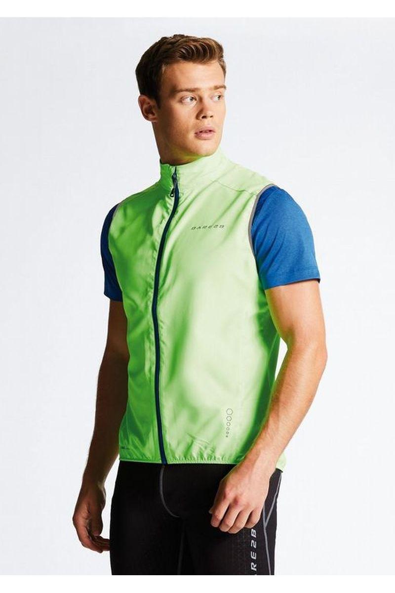 Велокуртка мужская Dare 2b Fired Up II Vest, цвет: зеленый. DML367-1FR. Размер XXL (58/60)DML367-1FRОблегченная ветрозащитная ткань Ilus Windshell из полиэстера. Ветронепроницаемая ткань. Bодоотталкивающее покрытие. Эластичная обшивка в пройме. Эластичная кайма. Светоотражающие детали способствуют лучшей видимости. Вес менее 155 г (размер M).