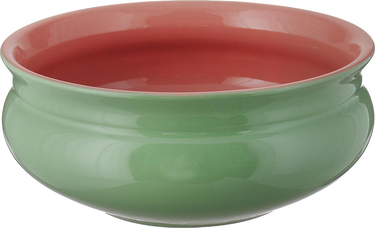 """Тарелка глубокая Борисовская керамика """"Скифская"""", цвет: светло-зеленый, розовый, 800 мл"""