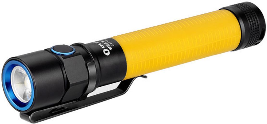 Фонарь светодиодный Olight S2A Baton, цвет: желтыйMV-918503Код MV-918503 Бренд Olight Тип фонаря светодиодный Макс.дальность луча (м.) 110 Время работы (мин.) 144000 Батарейки в комплекте есть Световой поток (лм.) 550 Питание 2xАА Тип подгруппы Карманные Коллекция S Series Длина (см) 13.2 Светодиодный фонарь Olight S2A Baton мощностью 550 люмен, работает от широко доступных двух пальчиковых батарей типа АА. Акриловая TIR оптика обеспечивает равномерный и приятный хотспот, а четыре варианта расцветки корпуса из мягкого силиконового материала черного, серого, синего и желтого цвета позволит выбрать понравившийся вам цвет. Акриловая TIR оптика позволила уменьшить габариты фонаря, исключив отражатель из головы. У модели фонарь S2A Baton есть 2 функции таймера выключения через 3 и 9 минут.Технические характеристики:Источник света — светодиод Cree XM-L2 U2 холодный свет. Срок службы светодиода — 50000 часов (около 5 лет). Мощность: 550 люмен ANSI FL-1 standard Дальность: 110 метров ANSI FL-1 standard. Интенсивность светового потока 3,000 Cd. Линза — акриловая TIR оптика с пропусканием света 90%, угол центрального луча — 30?, боковая засветка — 100°. Питание: 2 х AA Alkaline 1,5 V или Ni-Mh 1,2 V и Lithium. Количество режимов — 6: 5 режимов яркости и Строб 10 Гц. Цифровая электроника поддерживает постоянную мощность света. Аккумулятор внутри корпуса подпружинен с обоих сторон. Функция памяти — сохраняет последний использованный режим яркости при включении. Прочный эргономичный корпус выполнен из авиационного алюминия марки Т6061 T6 с жестким анодирование 3-й (максимальной) степени и силиконовой накладкой на корпус. Фонарь отлично стоит на торце, и его можно использовать в качестве свечи с помощью рассеивающего диффузора Olight TW1-W Traffic Wand. Ударозащита по стандарту FL1 Standard (падение с высоты до 1 метра). Повышенная герметичность корпуса по стандарту IPX8 ( погружение под воду не более 2-х метров на 30 мин). Изготовлен в соответствии с военными стандартами армии С