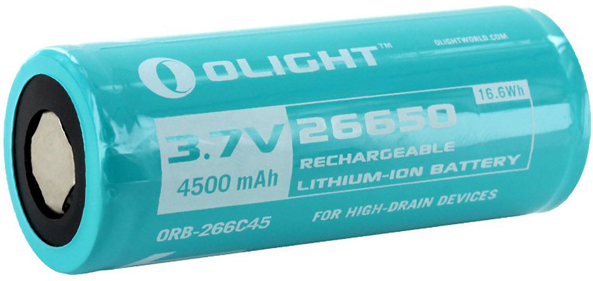 Аккумулятор для фонаря Olight ORB-266C45 26650, Li-ion, 3,7 В, 4500 mAh new 4pcs icr 3 7v 26650 lithium ion rechargeable battery 5200mah li ion cell for led flashlight torch and battery pack 5000mah