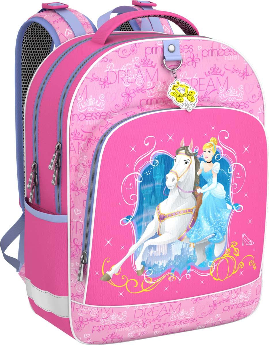 Disney Рюкзак детский Принцессы Disney Королевский бал42301Рюкзак школьный Disney сочетает в себе оригинальный дизайн, удобство и практичность.Жесткий каркас и эргономичная спинка дарят комфорт и способствуют улучшению осанкиребенка. Особенности модели: - рюкзак имеет жесткий каркас; - эргономичная спинка; - на дне пластиковые ножки; - светоотражающие элементы; - вмещает формат А4;-выполнен из непромокаемой водоотталкивающей ткани.