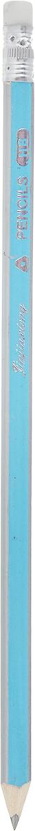 Карандаш чернографитный с ластиком цвет корпуса синий сиреневый серый1299432_синий, сиреневый, серый