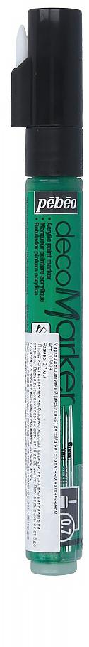 Pebeo Маркер декоративный decoMarker цвет зеленый 20562335858929122Маркеры на водной основе, содержащие жидкие акриловые краски.Для удобства использования в колпачке каждого decoMarker находится запасной наконечник. Если первоначально установленный наконечник поврежден или пришел в негодность, его необходимо заменить.Рекомендованы для множества техник. После высыхания оттенки не тускнеют. Обладают отличной светостойкостью.Им можно рисовать, писать, декорировать и однородно затушевывать. Цвета непрозрачны, их можно смешивать между собой, а также наносить поверх высохших слоев.Применение: потрясите маркер, затем надавите на стержень несколько раз перед использованием.Время высыхания поверхности от 10 до 30 минут. Полное высыхание от 6 до 12 часов. Смывается мыльной водой прежде, чем полностью высохнет.Поверхности: бумага, картон, папье-маше, дерево, металл, обожженная глина, пластик, холст