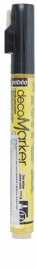 Pebeo Маркер декоративный decoMarker цвет желтый солнечный 20570235859425992Маркеры на водной основе, содержащие жидкие акриловые краски.Для удобства использования в колпачке каждого decoMarker находится запасной наконечник. Если первоначально установленный наконечник поврежден или пришел в негодность, его необходимо заменить.Рекомендованы для множества техник. После высыхания оттенки не тускнеют. Обладают отличной светостойкостью.Им можно рисовать, писать, декорировать и однородно затушевывать. Цвета непрозрачны, их можно смешивать между собой, а также наносить поверх высохших слоев.Применение: потрясите маркер, затем надавите на стержень несколько раз перед использованием.Время высыхания поверхности от 10 до 30 минут. Полное высыхание от 6 до 12 часов. Смывается мыльной водой прежде, чем полностью высохнет.Поверхности: бумага, картон, папье-маше, дерево, металл, обожженная глина, пластик, холст