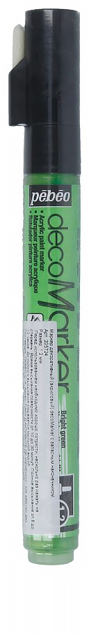 Pebeo Маркер декоративный decoMarker цвет светло-зеленый 572435859836602Маркеры на водной основе, содержащие жидкие акриловые краски.Для удобства использования в колпачке каждого decoMarker находится запасной наконечник. Если первоначально установленный наконечник поврежден или пришел в негодность, его необходимо заменить.Рекомендованы для множества техник. После высыхания оттенки не тускнеют. Обладают отличной светостойкостью.Им можно рисовать, писать, декорировать и однородно затушевывать. Цвета непрозрачны, их можно смешивать между собой, а также наносить поверх высохших слоев.Применение: потрясите маркер, затем надавите на стержень несколько раз перед использованием.Время высыхания поверхности от 10 до 30 минут. Полное высыхание от 6 до 12 часов. Смывается мыльной водой прежде, чем полностью высохнет.Поверхности: бумага, картон, папье-маше, дерево, металл, обожженная глина, пластик, холст