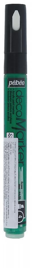 Pebeo Маркер декоративный decoMarker №2 цвет зеленый 20592335861246352Маркеры на водной основе, содержащие жидкие акриловые краски.Для удобства использования в колпачке каждого decoMarker находится запасной наконечник. Если первоначально установленный наконечник поврежден или пришел в негодность, его необходимо заменить.Рекомендованы для множества техник. После высыхания оттенки не тускнеют. Обладают отличной светостойкостью.Им можно рисовать, писать, декорировать и однородно затушевывать. Цвета непрозрачны, их можно смешивать между собой, а также наносить поверх высохших слоев.Применение: потрясите маркер, затем надавите на стержень несколько раз перед использованием.Время высыхания поверхности от 10 до 30 минут. Полное высыхание от 6 до 12 часов. Смывается мыльной водой прежде, чем полностью высохнет.Поверхности: бумага, картон, папье-маше, дерево, металл, обожженная глина, пластик, холст
