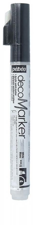 Pebeo Маркер декоративный decoMarker №2 цвет белый 20590135861248252Маркеры на водной основе, содержащие жидкие акриловые краски.Для удобства использования в колпачке каждого decoMarker находится запасной наконечник. Если первоначально установленный наконечник поврежден или пришел в негодность, его необходимо заменить.Рекомендованы для множества техник. После высыхания оттенки не тускнеют. Обладают отличной светостойкостью.Им можно рисовать, писать, декорировать и однородно затушевывать. Цвета непрозрачны, их можно смешивать между собой, а также наносить поверх высохших слоев.Применение: потрясите маркер, затем надавите на стержень несколько раз перед использованием.Время высыхания поверхности от 10 до 30 минут. Полное высыхание от 6 до 12 часов. Смывается мыльной водой прежде, чем полностью высохнет.Поверхности: бумага, картон, папье-маше, дерево, металл, обожженная глина, пластик, холст