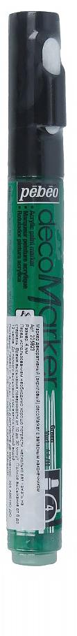 Pebeo Маркер декоративный decoMarker №1 цвет зеленый 20582335861384772Маркеры на водной основе, содержащие жидкие акриловые краски.Для удобства использования в колпачке каждого decoMarker находится запасной наконечник. Если первоначально установленный наконечник поврежден или пришел в негодность, его необходимо заменить.Рекомендованы для множества техник. После высыхания оттенки не тускнеют. Обладают отличной светостойкостью.Им можно рисовать, писать, декорировать и однородно затушевывать. Цвета непрозрачны, их можно смешивать между собой, а также наносить поверх высохших слоев.Применение: потрясите маркер, затем надавите на стержень несколько раз перед использованием.Время высыхания поверхности от 10 до 30 минут. Полное высыхание от 6 до 12 часов. Смывается мыльной водой прежде, чем полностью высохнет.Поверхности: бумага, картон, папье-маше, дерево, металл, обожженная глина, пластик, холст