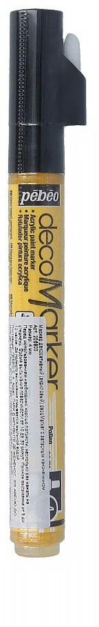 Pebeo Маркер декоративный decoMarker №1 цвет желтый 20580335861384822Маркеры на водной основе, содержащие жидкие акриловые краски.Для удобства использования в колпачке каждого decoMarker находится запасной наконечник. Если первоначально установленный наконечник поврежден или пришел в негодность, его необходимо заменить.Рекомендованы для множества техник. После высыхания оттенки не тускнеют. Обладают отличной светостойкостью.Им можно рисовать, писать, декорировать и однородно затушевывать. Цвета непрозрачны, их можно смешивать между собой, а также наносить поверх высохших слоев.Применение: потрясите маркер, затем надавите на стержень несколько раз перед использованием.Время высыхания поверхности от 10 до 30 минут. Полное высыхание от 6 до 12 часов. Смывается мыльной водой прежде, чем полностью высохнет.Поверхности: бумага, картон, папье-маше, дерево, металл, обожженная глина, пластик, холст