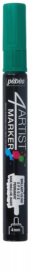 Pebeo Маркер художественный 4Artist Marker цвет темно-зеленый 58011836577572852Маркеры 4Artist на масляной основе для живописи.Цвета яркие, непрозрачные, глянцевые. Обладают хорошей светостойкостью. При помощи этих маркеров можно выполнять четкие рисунки на большинстве основ. На пористых поверхностях результат будет менее глянцевым. Идеально подходит для смешанных техник или специальными красками, такими как Ceramic, Vitrail, смолы Gedeo и структурные краски Prism и Moon.Применение: потрясите маркер, затем надавите на стержень несколько раз перед использованием.Время высыхания поверхности от 5 до 15 минут в зависимости от пористости основания и толщины нанесенного слоя. После высыхания не смываемыйОчистка: минеральным маслом без запахаПоверхности: холст, бумага, картон, дерево, металл, пластик, стекло, керамика, фарфор, гипс, минеральная основа.