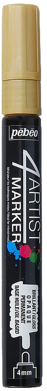 Pebeo Маркер художественный 4Artist Marker цвет золотистый 58015536577579022Маркеры 4Artist на масляной основе для живописи.Цвета яркие, непрозрачные, глянцевые. Обладают хорошей светостойкостью. При помощи этих маркеров можно выполнять четкие рисунки на большинстве основ. На пористых поверхностях результат будет менее глянцевым. Идеально подходит для смешанных техник или специальными красками, такими как Ceramic, Vitrail, смолы Gedeo и структурные краски Prism и Moon.Применение: потрясите маркер, затем надавите на стержень несколько раз перед использованием.Время высыхания поверхности от 5 до 15 минут в зависимости от пористости основания и толщины нанесенного слоя. После высыхания не смываемыйОчистка: минеральным маслом без запахаПоверхности: холст, бумага, картон, дерево, металл, пластик, стекло, керамика, фарфор, гипс, минеральная основа.