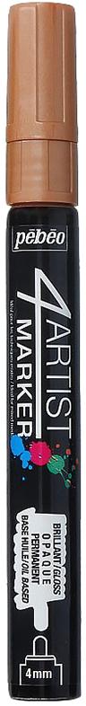 Pebeo Маркер художественный 4Artist Marker цвет медный 58015636577596882Маркеры 4Artist на масляной основе для живописи.Цвета яркие, непрозрачные, глянцевые. Обладают хорошей светостойкостью. При помощи этих маркеров можно выполнять четкие рисунки на большинстве основ. На пористых поверхностях результат будет менее глянцевым. Идеально подходит для смешанных техник или специальными красками, такими как Ceramic, Vitrail, смолы Gedeo и структурные краски Prism и Moon.Применение: потрясите маркер, затем надавите на стержень несколько раз перед использованием.Время высыхания поверхности от 5 до 15 минут в зависимости от пористости основания и толщины нанесенного слоя. После высыхания не смываемыйОчистка: минеральным маслом без запахаПоверхности: холст, бумага, картон, дерево, металл, пластик, стекло, керамика, фарфор, гипс, минеральная основа.