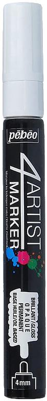 Pebeo Маркер художественный 4Artist Marker цвет белый 58012536578056342Маркеры 4Artist на масляной основе для живописи.Цвета яркие, непрозрачные, глянцевые. Обладают хорошей светостойкостью. При помощи этих маркеров можно выполнять четкие рисунки на большинстве основ. На пористых поверхностях результат будет менее глянцевым. Идеально подходит для смешанных техник или специальными красками, такими как Ceramic, Vitrail, смолы Gedeo и структурные краски Prism и Moon.Применение: потрясите маркер, затем надавите на стержень несколько раз перед использованием.Время высыхания поверхности от 5 до 15 минут в зависимости от пористости основания и толщины нанесенного слоя. После высыхания не смываемыйОчистка: минеральным маслом без запахаПоверхности: холст, бумага, картон, дерево, металл, пластик, стекло, керамика, фарфор, гипс, минеральная основа.