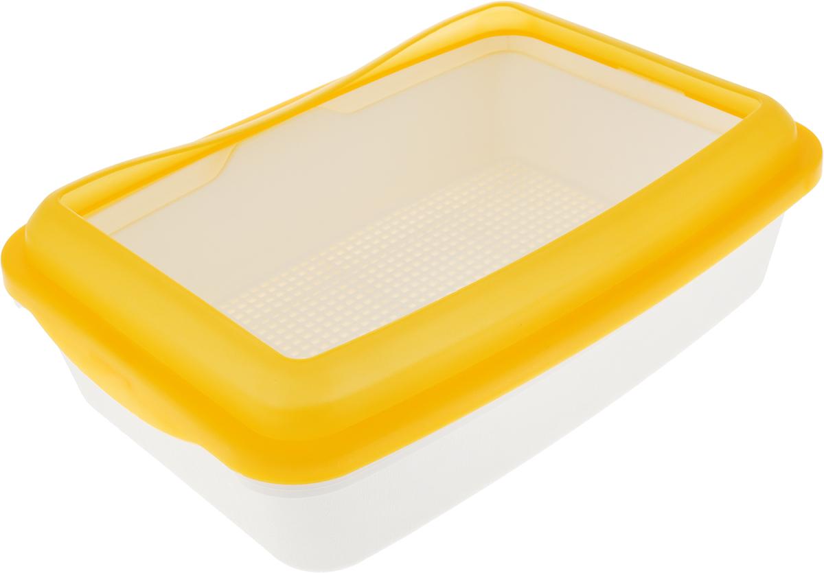 """Фото Туалет для кошек """"№1"""", с сеткой и бортом, цвет: белый, желтый, 41 х 30 х 12,5 см"""