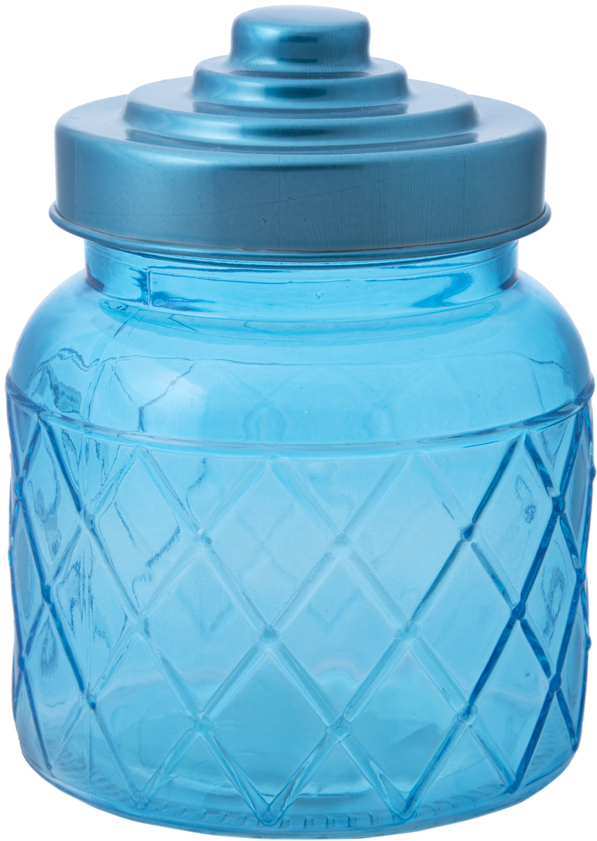 Банка для сыпучих продуктов Magic Home, цвет: голубой, 600 мл76386Банка для сыпучих продуктов Magic Home изготовлена из стекла, имеет крышку из окрашенного металла (объем 0,6 литра). Хранить в сухом, защищенном от влаги месте. Не мыть в посудомоечной машине. Не использовать при мытье агрессивные моющие средства и жесткие губки.