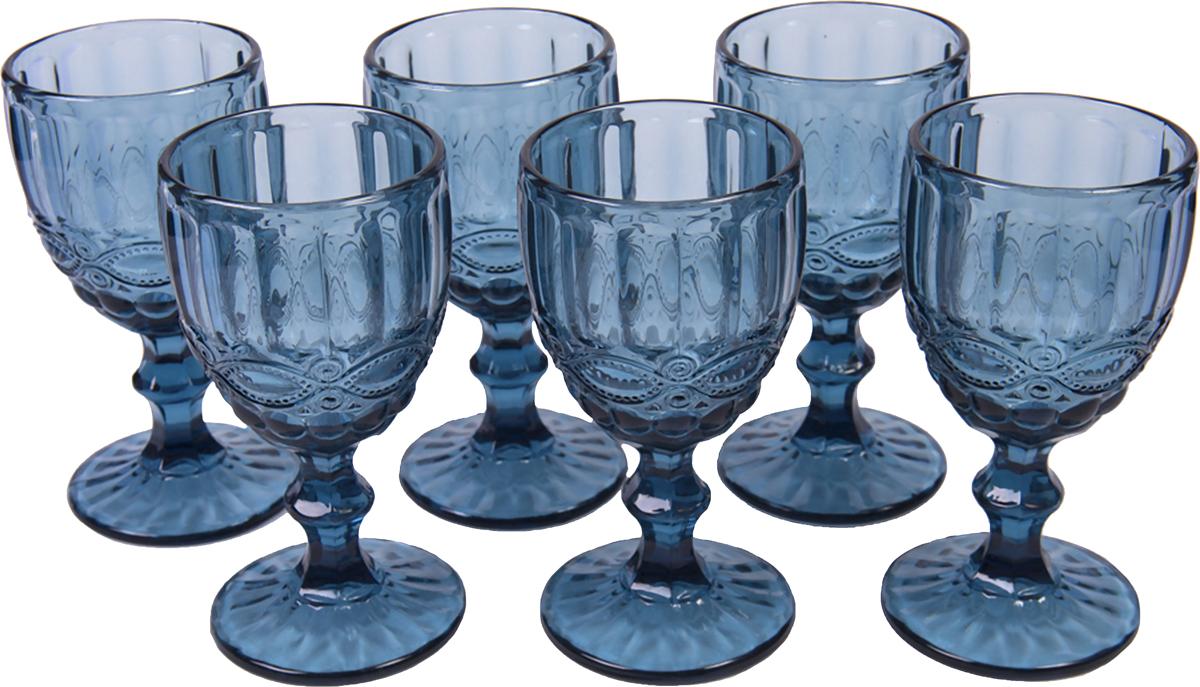 Набор бокалов Magic Home Престиж, цвет: синий, 350 мл, 6 шт набор бокалов для бренди коралл 40600 q8105 400 анжела