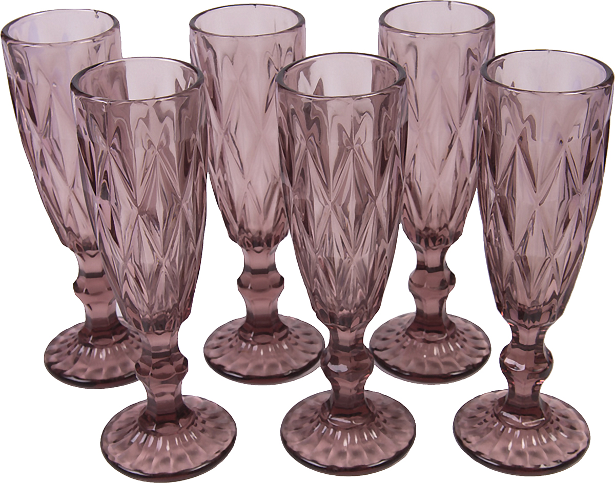 Набор бокалов Magic Home Триумф, цвет: фиолетовый, 250 мл, 6 шт набор бокалов для бренди коралл 40600 q8105 400 анжела