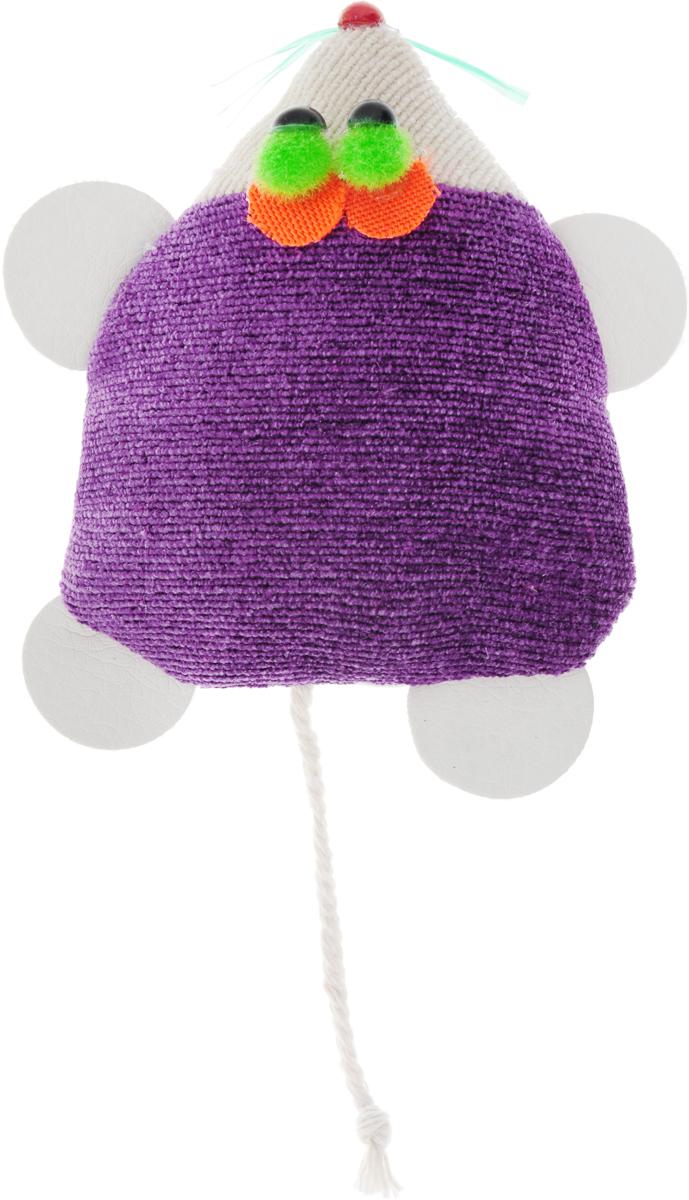 Игрушка для кошек GLG Мышка-норушка, цвет: фиолетовый, 7 х 14 х 2,5 см игрушка для кошек трикси мышка заводная 7 см