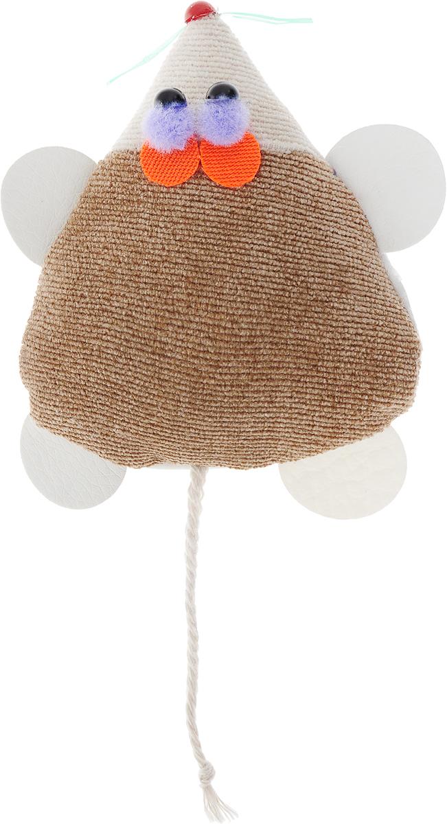 Игрушка для кошек GLG Мышка-норушка, цвет: коричневый, 7 х 14 х 2,5 см игрушка triol столбик и туннель цвет кремовый коричневый 24 х 21 х 23 см
