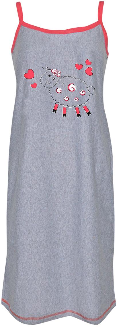 Платье домашнее Коллекция, цвет: серый. СЖБ-18/48/1. Размер 48СЖБ-18/1Удобная ночная сорочка Коллекция подарит вам комфорт и уют. Модель свободного кроя на тонких бретелях выполнена из приятного хлопкового материала и оформлена принтом с забавной овечкой.