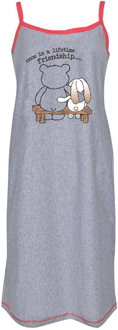 Платье домашнее Коллекция, цвет: серый. СЖБ-18/48/2. Размер 48СЖБ-18/2Удобная ночная сорочка Коллекция подарит вам комфорт и уют. Модель свободного кроя на тонких бретелях выполнена из приятного хлопкового материала и оформлена милым принтом.