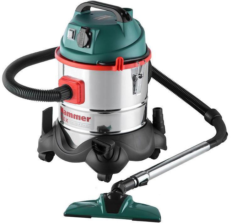 Пылесос для сухой и влажной уборки Hammer Flex PIL20A, с розеткой для электроинструмента, 1400 Вт - Пылесосы
