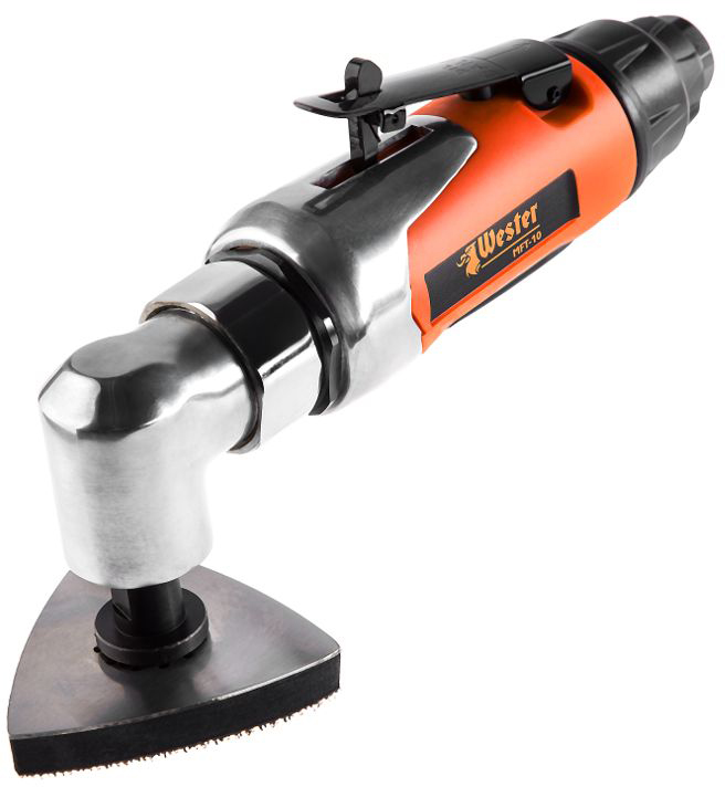 Многофункциональный инструмент Wester MFT-10, 20 аксессуаров319150Wester MFT-10 – пневматический многофункциональный инструмент для распиливания, шлифовки и разрезания древесины, пластика и металла.Шпиндель делает 16500 ходов в минуту. Универсальное значение для шлифовки и резки.Требует производительности компрессора 128 л/мин. Совместим с компрессорами средней мощности.Гарантия 36 мес.Литой металлический корпус хорошо отводит тепло и устойчив к нагрузкам. Инструмент предназначен для частого использования.Прорезиненное покрытие корпуса. Инструмент не выскальзывает из рук при работе.Кнопка запуска нажимается всей ладонью. Пальцы не устают во время работы.Блокиратор случайного включения предотвращает нежелательные зажатия рычага. Для начала работы необходимо отодвинуть рычаг блокиратора.Компактный размер и малый вес – 1,4 кг. Руки медленнее устают во время работы.Подключается к пневмомагистрали через быстросъемное соединение 1/4''. На подключение и замену и инструмента потребуется всего пара секунд.Реноватор совместив с аксессуарами Bosch. Для их подключения в комплекте идет переходник.